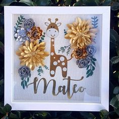 Giraffe Shadow box for a boy baby shower.👶💛 When your client just gives you the theme and colors and tells you that she trusts your work😎. Flower Shadow Box, Diy Shadow Box, Paper Flower Art, Paper Flowers Diy, Cadre Diy, Baby Shower Giraffe, Paper Cut Design, Cricut Craft Room, Paper Crafts