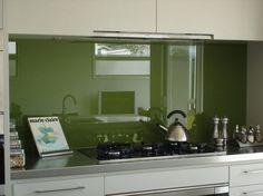 Kharki green kitchen splashback