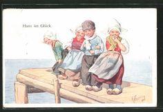 Artiste-AK-Karl-jour-ferie-Hans-dans-le-bonheur-avec-trois-filles-en-costume-traditionnel-sur-un-s