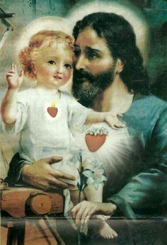 St Joseph and Jesus Catholic Religion, Catholic Art, Catholic Saints, Roman Catholic, Religious Images, Religious Art, Jesus E Maria, Christian Facebook, Christian Images