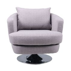 This lush and comfy swivel chair is great for relaxing. The stylish furniture is made of grey fabric and solid pine wood.