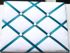 White and Turquoise Ribbon Memory Board French Memo Board Fabric Board Ribbon Board Bulletin Board, Pin Board, Photos