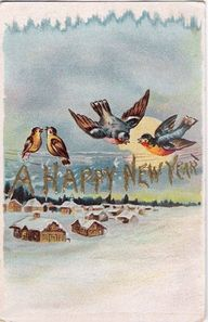 A cute birdie filled Happy New Year greeting card. #birds #vintage #New_Years #card