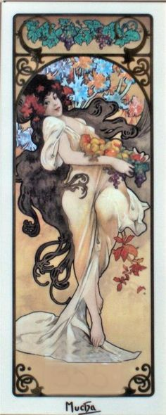 Alphonse Mucha Style: Art Nouveau (Modern) Genre: allegorical painting Tags: flowers-and-plants, female-portraits Art And Illustration, Mucha Art Nouveau, Alphonse Mucha Art, Tatoo Art, Motif Art Deco, Jugendstil Design, Kunst Poster, Fine Art, Klimt