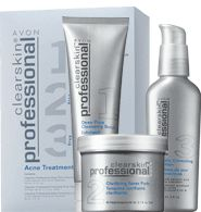 "AVON - Clearskin® Professional Acne Treatment System Formulated with a blend of key ingredients:- Salicylic Acid* OTC active treatment to clear, reduce & help prevent acne blemishes.*Scrub & Lotion only.- Glycolic Acid An effective skin retexturizer.- Exclusive Zinc Hexapeptide-11 Designed to help control surface oil in oily-prone skin.3 steps to skin that's clearer in just 3 days!Dr. Karcher says: ""The first thing I tell my patients is that a good skin care routine is the foundation for great skin. And keep it simple! Use each step morning and night for the best results possible.""How to use:Step 1 Cleanse Deep Pore Cleansing Scrub contains our exclusive Oil Control System. Exfoliates pores; leaves skin feeling cool, clean and healthier-looking. 4.2 fl. oz.Step 2: Tone Clarifying Toner Pads specially formulated to help retexturize, calm and soothe; skin looks and feels smoother after just one use. 45 pads.Step 3: Treat Daily Correcting Lotion multi-tasking treatment lotion visibly minimizes pores and controls surface oil. Proven to even skin tone. 2 fl. oz.Meet our Clearskin® PROExpert, Dr. Cheryl Karcher. Board-certified, nationally recognized expert in aesthetic medicine and professional consultant for Avon.""Every day in my NYC practice I see women in their teens through their 40's struggling with acne. Sometimes they start to give up, thinking there's no answer - BUT YOU DON'T HAVE TO LIVE WITH ACNE! You may not even have to go to a dermatologist. Clearskin® Professional is a truly effective, quick-acting, simple and affordable solution."" Price $32.00"