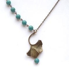 Antiqued Brass Gingkgo Leaf Turquoise Necklace by gemandmetal, $12.99