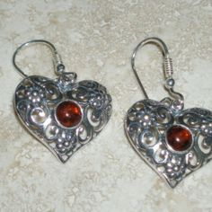 New Authentic Poland Baltic Amber Sterling Silver Heart Earrings #E218643 $32.50