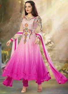 Celina jaitley In Hot Pink Net Anarkali Salwar suit http://www.angelnx.com/Salwar-Kameez/Bollywood-Salwar