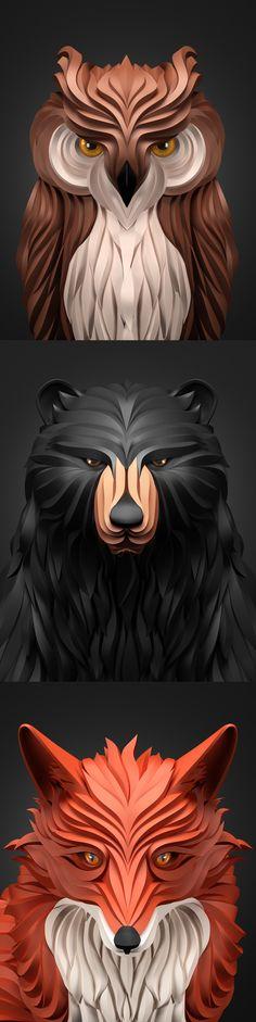#vector #animals #owl #bear #fox