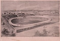 Here is an image displayed in our exhibit: Aerial view drawing of a velodrome with racers on the oval track and stands full of spectators. Signage on the outer wall indicates that it is the Racine Athletic Association's 1/4 Mile Cement Bicycle Track. Three riders on a triplet tandem bicycle are riding outside the wall in the foreground.