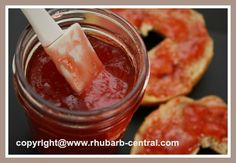 RECIPE for Strawberry Rhubarb Jam - Cooked Jam with HONEY instead of SUGAR! YUMMY on bagels, toast, ice cream, waffles, and more!