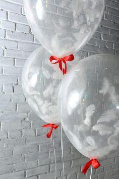 Прозрачные воздушные шары с перьями на новый год | White red big balloon feather garland new year party set