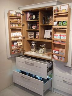 Kitchens & Open Plan Furniture based in Devon Small Kitchen Pantry, Bakers Kitchen, Kitchen Larder, Kitchen Pantry Design, Kitchen Storage, Kitchen Cabinets, Living Room Kitchen, Home Decor Kitchen, Diy Kitchen