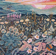 """Midsummer Morning"" by Annie Soudain. Art And Illustration, Linocut Prints, Art Prints, Linoprint, Collages, Woodblock Print, Art Sketchbook, Love Art, Land Scape"
