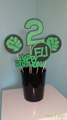 Hulk Centerpiece, Hulk Green and Black Centerpiece for Birthday Party, Party Decorations, Superhero Themed Birthday