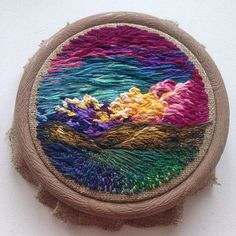 Embroidery art By Shimunia. with the rapid expansion of the digital world, the value of hand made elements and artefacts with nostalgic values is increasing much more than before. Embroidery Patterns Free, Crewel Embroidery, Embroidery Hoop Art, Hand Embroidery Designs, Beaded Embroidery, Cross Stitch Embroidery, Embroidery Techniques, Fabric Art, Sewing Crafts