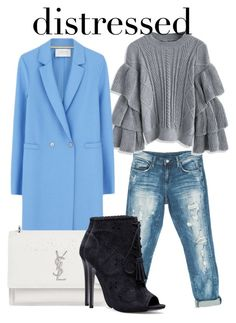 """""""Ruffled Sweater and distressed denim"""" by ojomrs on Polyvore featuring Sans Souci, Chicwish, Harris Wharf London, Yves Saint Laurent, clear and distresseddenim"""