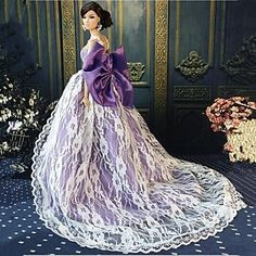 USD $ 9.99 - Barbie Doll Mysterious Princess Purple Evening Party Dress, Free Shipping On All Gadgets!