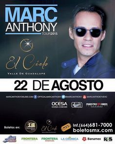 Marc Anthony ya es este sábado en los Viñedos El Cielo Ensenada. Estamos a nada no se lo pueden perder! #Eventos  Info: http://tjev.mx/1N8U9iH