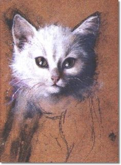 White Kitten Julius Adam Private Collection cats in 19th century art www.thegreatcat.org