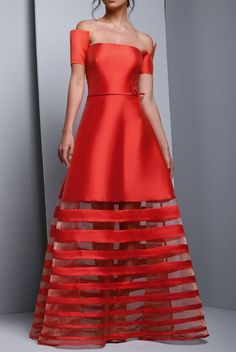 Beside Couture by Gemy Red Off Shoulder Mikado Evening Gown Evening Party, Evening Dresses, Party Outfits For Women, Pant Suits, Women's Fashion, Fashion Outfits, Indian Designer Wear, Ball Dresses, Formal Wear