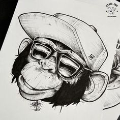 faces of Sedd Tattoo Sketches, Drawing Sketches, Tattoo Drawings, Body Art Tattoos, Art Drawings, Graffiti Art, Blackwork, Monkey Art, Monkey Drawing