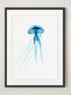 Jellyfish Giclee Fine Art Print, Teal Watercolor Painting, Blue Sealife Poster, Baby Room Kids Wall Decor, Boy's Room Oceanic Creature