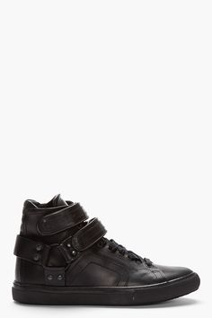 PIERRE HARDY Black Leather Multi-Strap Velcro High-Top Sneakers