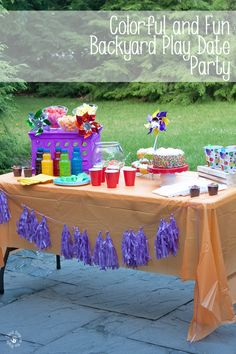 Set Up For Carnival Theme Backyard Birthday Party