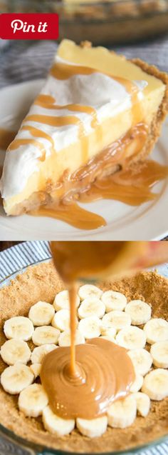 NEW Caramel Banana Cream Pie - This Caramel Banana Cream Pie has a delicious graham cracker crust followed by a caramel layer topped by banana pudding AND whipped cream! DIY