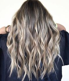 Brown and Blonde Hair Ideas for 2020 ash Blonde Balayage and Silver Ombre Hair Color Ideas 2017 Ash Blonde Hair, Ombre Hair, Balayage Blond, Wavy Hair, Long Bronde Hair, Ash Blonde Highlights On Dark Hair, Blonde Bayalage, Baylage, Bronde Haircolor
