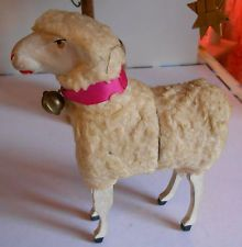 antic rare LARGE German Putz woolly stick leg sheep CANDY  CONTAINER  61/4 inche