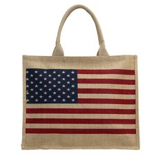 6797805e1939 Purple Leopard Boutique - American Flag USA Tote Bag Beach Purse Jute  Medium Size Red White