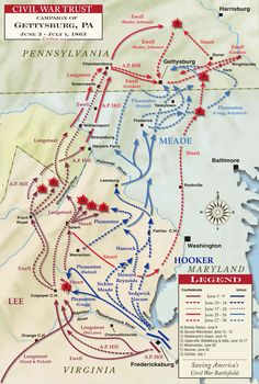 The Gettysburg Campaign of 1863 began in early June after Confederate victories in Northern Virginia at Fredericksburg and Chancellorsville. General Robert E. Lee took his spirited army west, then north up the Shenandoah Valley passing through Maryland and into Central Pennsylvania by the end of June. Union General Joe Hooker was replaced with George Meade who gave chase to Lee's Confederates positioning his Army of the Potomac between Lee and Washington DC. See comments below for more...