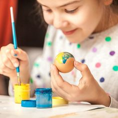 Happy little girl painting easter egg Painting Of Girl, Illustrations, Easter Eggs, Little Girls, Triangle, Photos, Children, Art For Toddlers, Activities