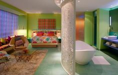 Hotel Missoni in Kuwait, outfitted with the fashion house's iconic boho-glam patterns and details as well as furniture from the likes of Philippe Starck and Hans Wegner.