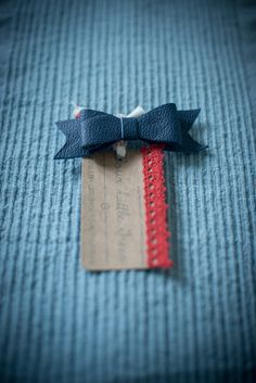 Blue colour  Leather Bow Hair Beret Clip by FourLittleTrees, £5.00