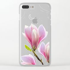 Pink Magnolias Art Clear iPhone Case by lostanaw #flowers #iphonecase #clearcase #tpu #artcase #society6 #transparent #magnolias #pink #women