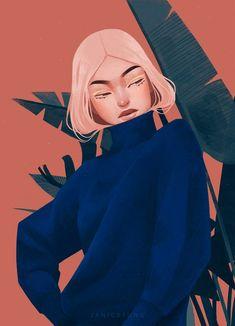 Красивые иллюстрированные портреты Дженис Сунг