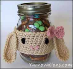 Easter bunny rabbit gift free crochet pattern (coffee cozy/candy giving accessory)