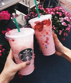 ♡ think pink ♡ cooling down with the starbucks secret menu #pinkdrink at disneyland with @tiffanyhoangg and @foodwithmichel {strawberry açai refresher with coconut milk instead of water}