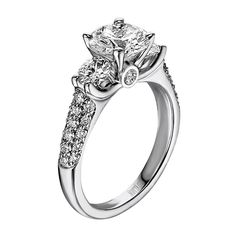 14kt White Gold (H/SI) Ladies Crown Engagement Ring From the Luminaire Collection by Scott Kay
