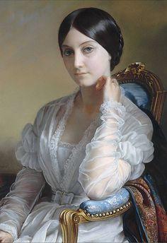 Portrait de Madame Léon Riesener (detail), by Henri-François Riesener…