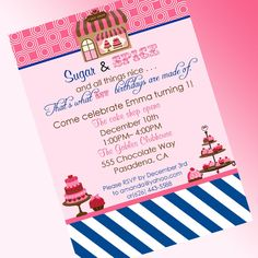 Sweet Shoppe Sugar and Spice Birthday Invitation - By A Blissful Nest  #ONpinparty #ONkidtacular #oldnavy #sweetshoppe