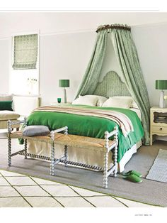 Green Traditional Bedroom with Canopy Curtains and Upholstered Headboard Elegant Bedroom Design, Modern Bedroom, Country Cottage Bedroom, Bedroom Pictures, Bedroom Ideas, Bedroom Inspiration, Bedroom Decor, Simple Bed Frame, Summer Bedroom