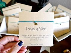 "Party Favors: Create your own ""Make a Wish"" bracelets - the kind where when they fall off your wish comes true! Baby Shower Guest Gifts, Diy Baby Shower Favors, Baby Shower Souvenirs, Baby Favors, Baby Wishes, Baby Shower Wishes, Star Baby Showers, Baby Shower Parties, Baby Shower Themes"