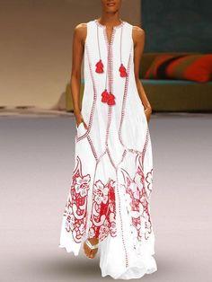 f823c23ba6710 Ankle-Length Sleeveless V-Neck Regular Pullover Dress