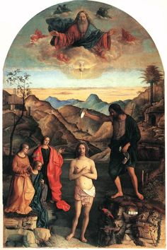 Giovanni Bellini : Baptism of Christ (also known as Altare Corzadori) (Chiesa di Santa Corona - Vicenza (Italy - Vicenza)) 1430 ジョヴァンニ・ベリーニ Renaissance Kunst, High Renaissance, Renaissance Paintings, Michelangelo, Italian Painters, Italian Artist, Baptism Of Christ, Giovanni Bellini, Saint Esprit