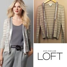 LOFT striped cardi with sequin trim Beautiful light gray cardigan with silver shimmer stripe and a lovely silver sequin and tulle border, open cardigan with no buttons or clasp. Great layering piece! In excellent conditon! Size Large. LOFT Sweaters Cardigans