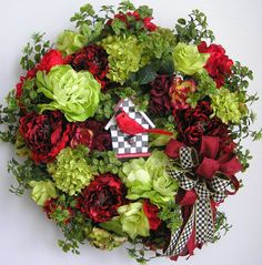 Spring Wreath, Valentine Wreath, Spring Bird House Wreath, Red Spring Wreath…